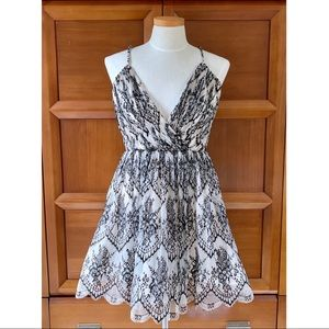Alice + Olivia Lace Overlay  A Line Dress
